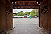 Wooden gate in Meiji Shrine at early morning, Shibuya, Tokyo, Japan