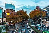 Traffic jam at Omotesando in autumn, Shibuya, Tokyo, Japan
