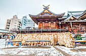 Ema plates and snow at Yushima Tenmangu, Bunkyo-ku, Tokyo, Japan