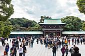 Tourist crowd in inner yard area of Meiji Shrine, Shibuya, Tokyo, Japan