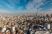 Hanayashiki, Senso-ji and Skytree seen from above, Taito-ku, Tokyo, Japan