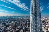 Tokyo Skyline with Mt. Fuji and Skytree with clouds, Sumida-ku, Tokyo, Japan