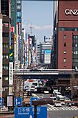 Ginza and expressway seen from Shimbashi, Chuo-ku, Tokyo, Japan