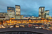 Tokyo Station at blue hour seen from above, Chuo-ku, Tokyo, Japan
