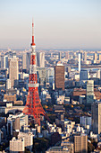 Tokyo Tower and World Trade Center seen from above, Minato-ku, Tokyo, Japan