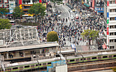 Shibuya Station and famous pedestrian zebra crossing in Shibuya from above, Tokyo, Japan