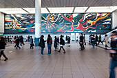 'Giant Painting ''Myth of tomorrow'' from Taro Okamoto at Shibuya Station, Tokyo, Japan'