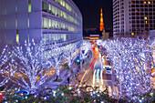 Langzeitbelichtung der Keyakizaka mit Tokyo Tower und Weihnachtsbeleuchtung bei Nacht, Roppongi, Minato-ku, Tokio, Japan