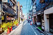 Honda Yokocho with many bars and restaurants in Kagurazaka, Shinjuku-ku, Tokyo, Japan