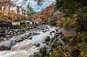 Wild mountain stream in autumn at Miyanoshita, Kanagawa Prefecture, Japan