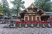 Yomei-Mon and decorated storage house San-Jinko at Toshogu-Shrine, Nikko, Tochigi Prefecture, Japan