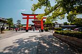 Entrance with big red Torii at Fushimi Inari-Taisha in Kyoto, Japan