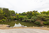 Garden with pond at temple Ninna-ji, Kyoto, Japan