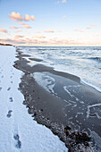 Sunrise, Beach, Winter, Snow, Stroll, Baltic Sea, Darss, Zingst, Germany