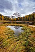 Spiegelung, Lago Antorno, Tre Cime di Lavaredo, Alpen, Dolomiten, Italien