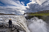 Waterfall, Dettifoss, Young Woman, Haze, Gorge, Iceland, Europe