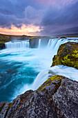 Wasserfall, Godafoss, Sonnenuntergang, Klippe, Fluss, Island, Europa
