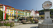 Main square from the pilgrimage town of Mariazell, Styria, Austria