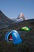 Two tents at Riffelsee, Gornergrat, Matterhorn, Zermatt, Valais, Switzerland