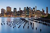 View from Brooklyn Bridge Park to Manhattan skyline, New York City, New York, USA
