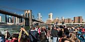 Manhattan skyline from the East River, Brooklyn Bridge, New York City, New York, USA