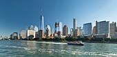 Lower Manhattan Skyline of Hudson River, One World Trade Center, New York City, New York, USA