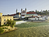 Michaelerkirche, river Steyr flows into the Enns, Steyr, Upper Austria, Austria