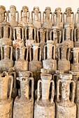 Antique amphoras, Museum of Roman ship, Albenga, Province of Savona, Liguria, Italy.