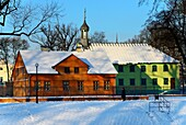 Winter scene, Open-air Museum of regional Wooden Architecture - integral part of Central Museum of Textiles, located on main artery of Lodz - Piotrkowska Street, next to the Wladyslaw Reymont Park, here church of Saint Andrew Bobola (Kosciol Swietego Andr