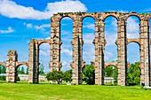 The Acueducto de los Milagros, Miraculous Aqueduct, is a ruined Roman aqueduct bridge, part of the aqueduct built to supply water to the Roman colony of Emerita Augusta, current Mérida, Badajoz, Extremadura, Spain, Europe.