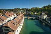 Morning in Bern, Switzerland. A view from Nydegg bridge.