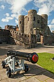 A cannon in front of Ypres Tower (aka Rye Castle) in Rye, East Sussex, England.