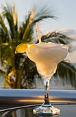 A margarita drink in Playa del Carmen on the east coast of the Yucatán Peninsula on the Caribbean Sea in the state of Quintana Roo, Mexico.