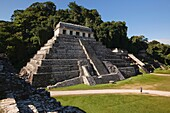 Tourists in front of the Temple of Inscriptions at the Palenque Archaeological Site, Palenque, Chiapas State, Mexico, North America.