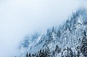 Snowy and cloudy mountainside, Kaprun, Salzburg, Austria