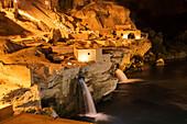 'Shushtar historical hydraulic system at nighttime; Shushtar, Khuzestan, Iran'