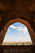 'Arch with decorated bricks on the open-air gallery on the third floor of the Dome of Soltaniyeh; Soltaniyeh, Zanjan, Iran'