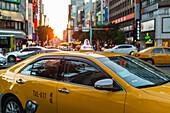 'Scene around Taipei's city center, some taxis and cars on the road; Taipei, Taiwan, China'