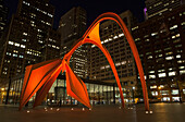 'Alexander Calder's Flamingo sculpture at Federal Plaza, located in front of the Kluczynski Federal Building; Chicago, Illinois, United States of America'
