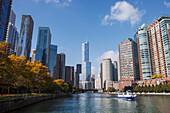 'View of downtown Chicago from Riverwalk at North Lake Shore Drive; Chicago, Illinois, United States of America'