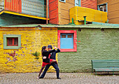 Couple dancing tango on Caminito Street, La Boca, Buenos Aires, Buenos Aires Province, Argentina, South America