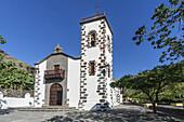church Santuario de Las Angustias , background banana plantation,  La Palma, Canary Islands, Spain