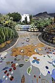 Floor mosaic by Luis Morera, Plaza La Glorieta, Las Manchas, La Palma, Canary Islands, Spain