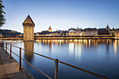 world heritage Chapel Bridge  at dusk, Lucerne, Switzerland