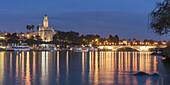 Torre del Oro, Guadalquivir river, Puente de San Telmo bridge, twilight, Seville, Andalusia, Spain
