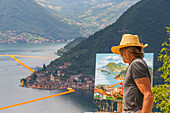 The artist of The Floating Piers in Iseo Lake , Italy, Europe