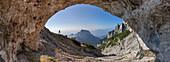 Europe, Italy, Veneto, Belluno, Natural cave on the Sasso di Scarnia, Dolomites, Belluno Dolomiti National Park, Vette Feltrine
