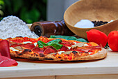 Pizza mushrooms and bresaola ready for consumption, Lombardy, Italy, Europe