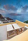The blue Aegean Sea seen from a typical terrace in Oia Santorini Cyclades Greece Europe