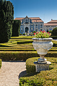 The gardens of the royal residence of Pal+ício de Queluz surrounded by sculptures and statues Lisbon Portugal Europe
